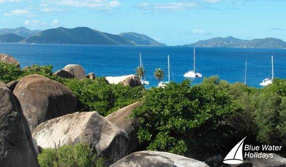 Boulders stretch inland from the Baths at Virgin Gorda